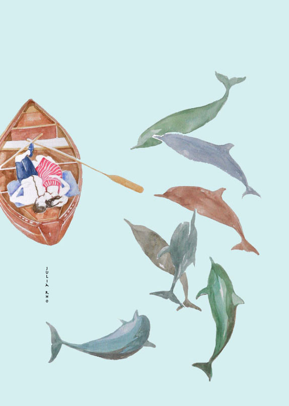 Dolphins and boat couple / watercolor