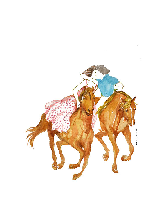 Kissing on horse / watercolor