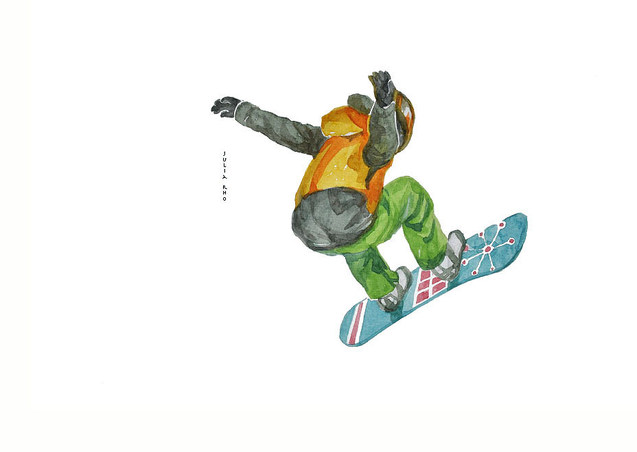 Snowboarding / watercolor
