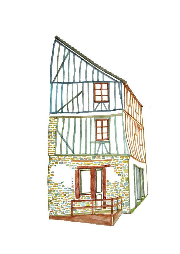 Vannes maison de centre ville / aquarelle