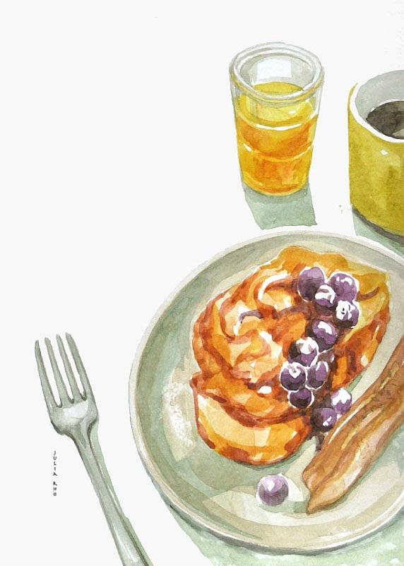 blueberry bread orange juice / watercolor