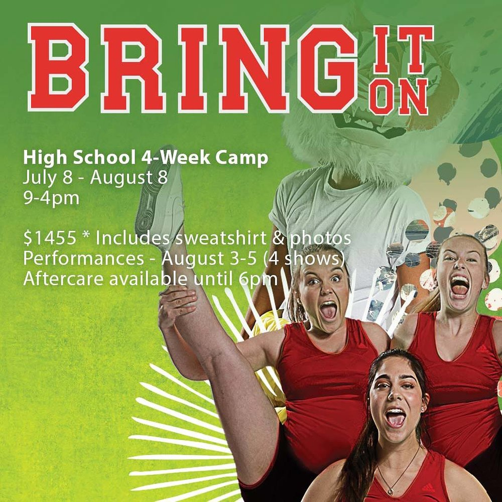 Bring It On - for those kiddos who want to challenge themselves with cheerleading, hip hop, and some stellar vocals.  And learn how to dodge flying shoes.  But most importantly, they must want to be a part of an ensemble, with a heavy emphasis placed on a storytelling and growing as performers.  Also, FUN because this summer is all about FUN! (But this time I'm definitely biased as this one is directed by ME)