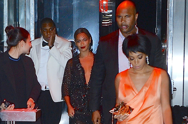 "Jay-Z, Beyonce' & Solange exit The Standard hotel after the ""elevator incident""."