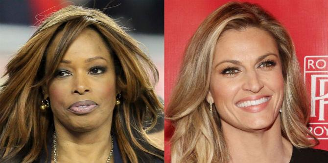 Pam Oliver (left) will be replaced by the younger, blonder Erin Andrews (right).