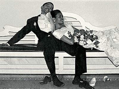 Future First Lady Michelle Obama with husband and  One Day President Barack Obama
