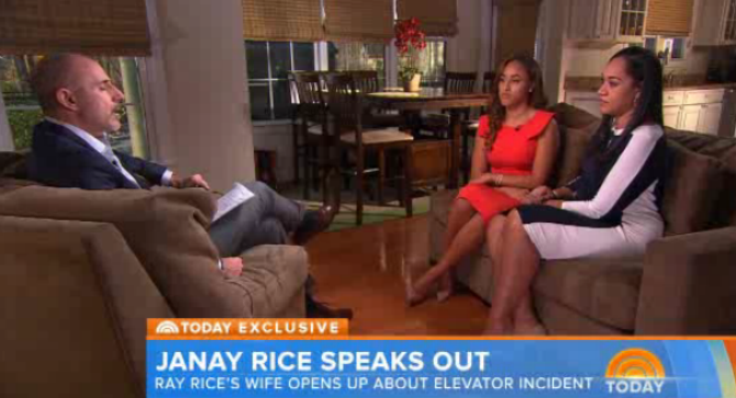 The Today Show's Matt Lauer interviews Janay Rice and her mother, Candy Palmer.