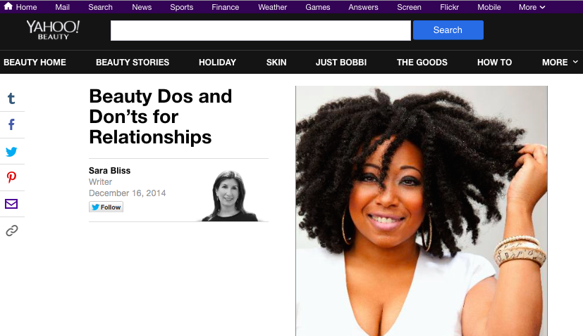 Screenshot from Yahoo! Beauty interview