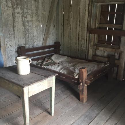 Inside a slave cabin at the Whitney Plantation