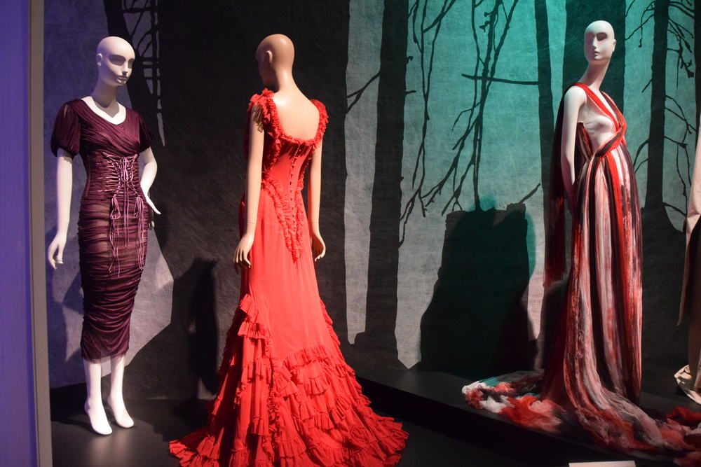 Purple dress, Dolce & Gabbana (2014); Red dress, Soronen (2007),  Striped dress, Rodarte (2008)