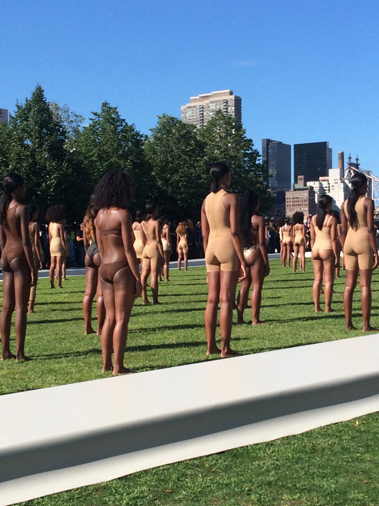 Models at the Yeezy Season 4 show at Roosevelt Island