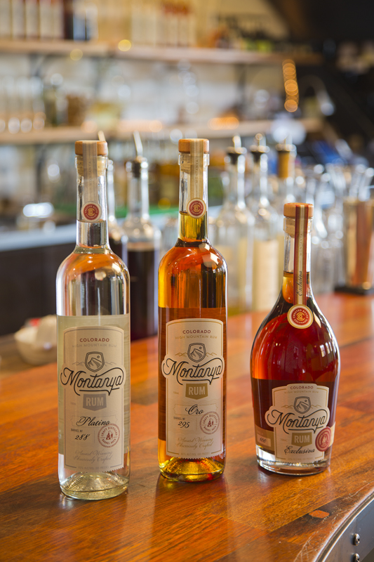 Three handcrafted rums from Montanya Distillers - Platino, Oro and Exclusiva