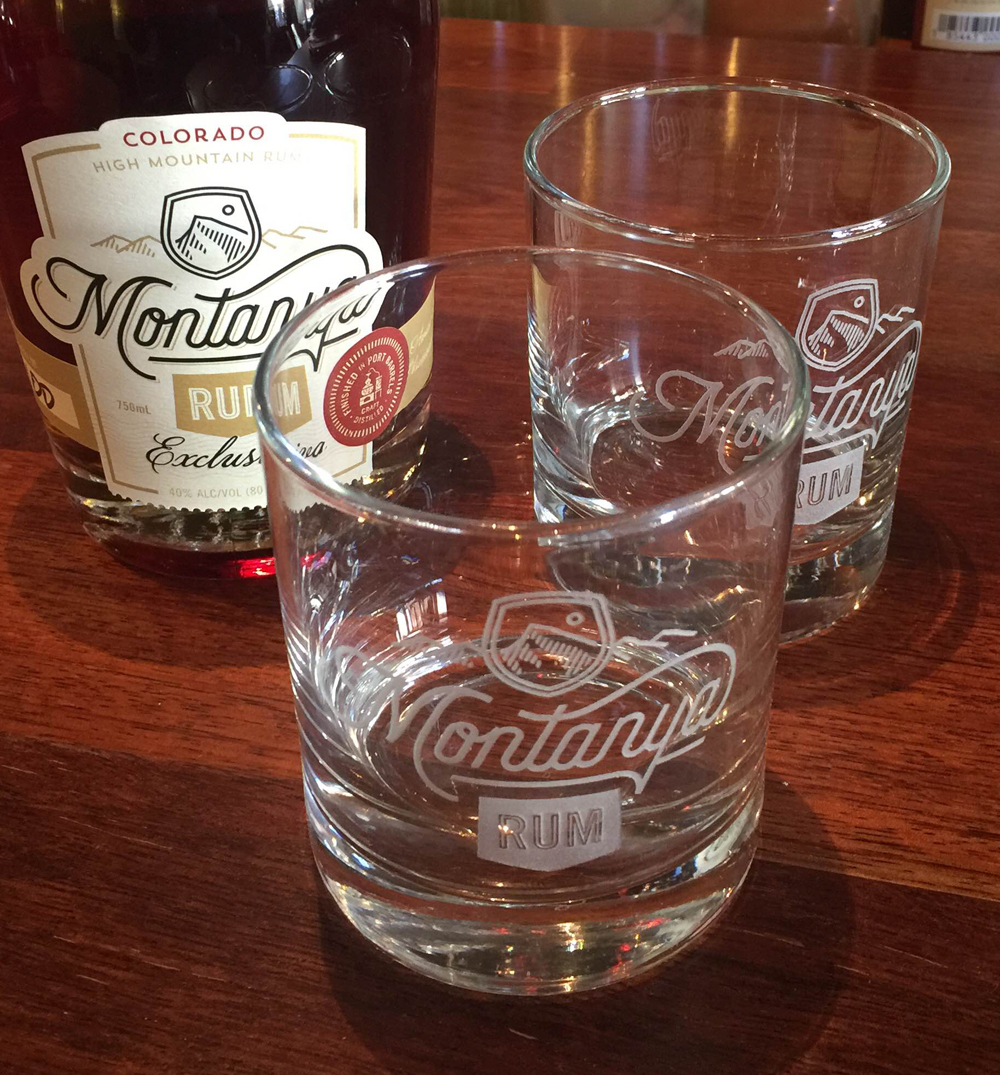 Engraved Rocks Glasses with the Montanya Rum logo, available  on line  and at our  Tasting Room .