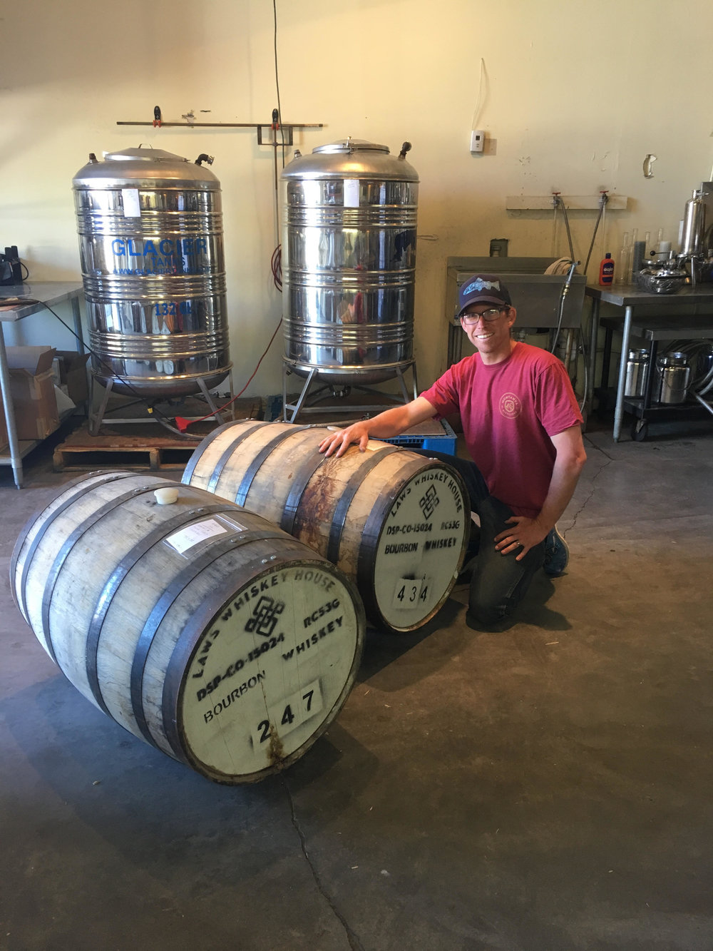 Gilles with his first two barrels of Montanya rum.