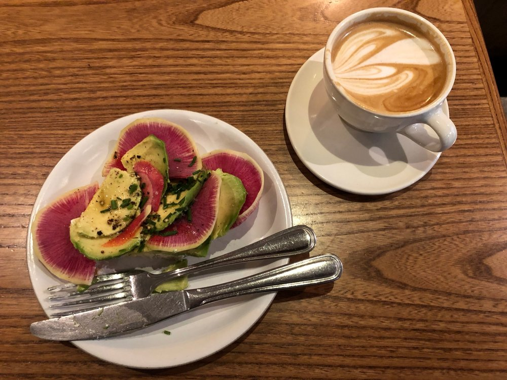 Gluten-free avocado toast at Mazarine Coffee