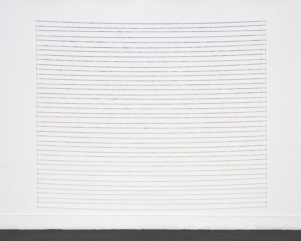 "Four Hour Colour Index , 96""x120"", acrylic paint on jute, fencing staples, 2016   The State of a Small Sky , Zavitiz Gallery, 2016  Documentation by Peter Denton"