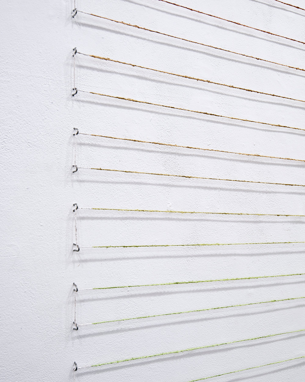 "Four Hour Colour Index , 96""x120"", acrylic paint on jute, fencing staples, 2016. Detail   The State of a Small Sky , Zavitiz Gallery, 2016  Documentation by Peter Denton"