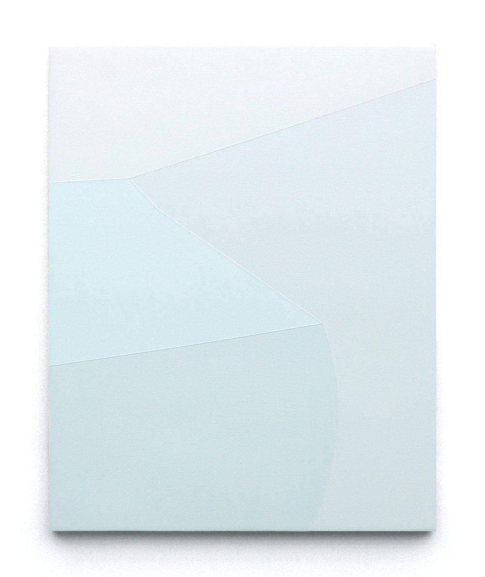"""onto closed eyes , 20""""x16"""", acrylic paint on panel, 2018."""