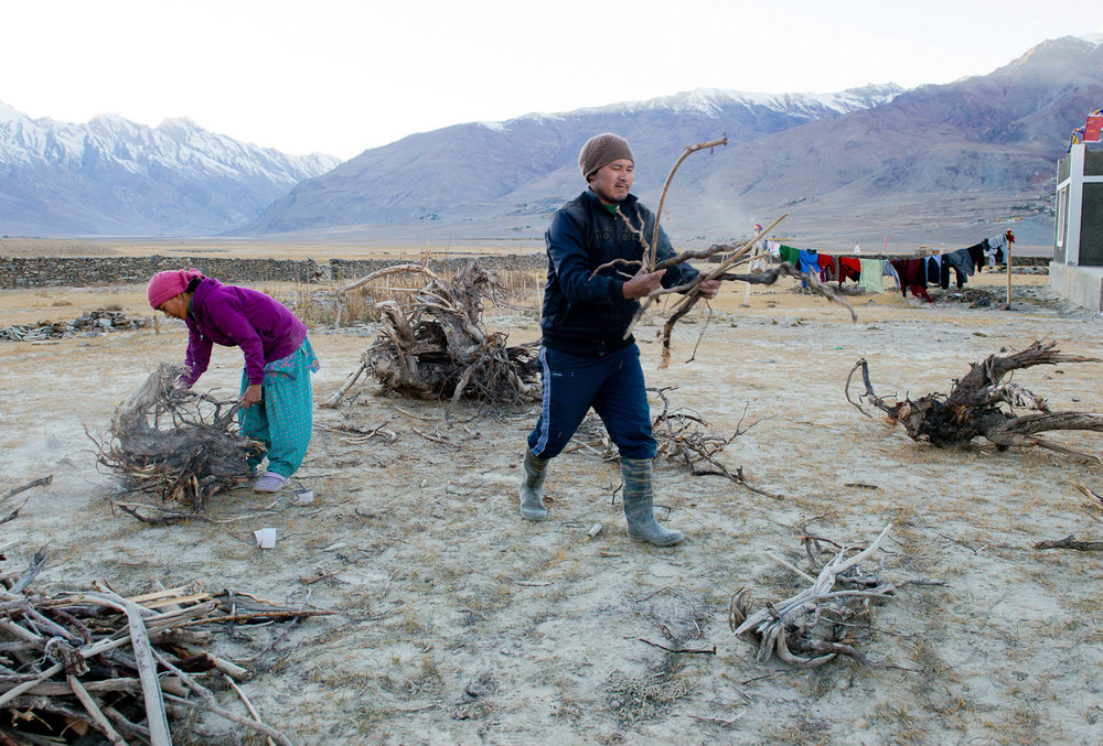 "Lobzang Rinchen and his wife Thukjay Dolma sort and stack driftwood in the front yard of their home in the village of Kumik Martang, in Zanskar, Kashmir. Since trees are sparse in the region, dung cakes are mostly used in cooking and heating. Although the 2015 flashflood destroyed the farms and canals in the village, it brought along a lot of driftwood down the river. ""We have never found so much driftwood before,"" said Rinchin."