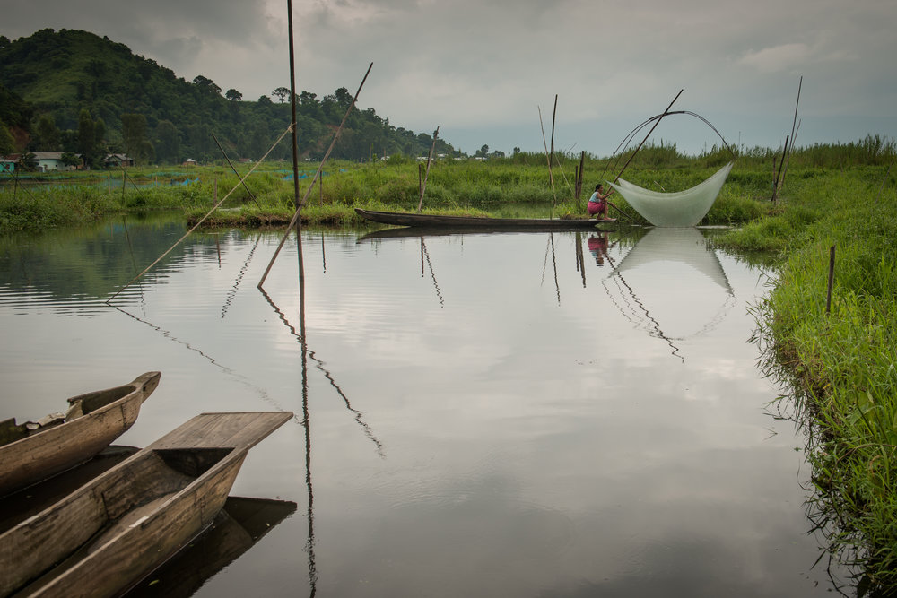 Ibeton Devi uses a traditional fishing technique called El Khonbi to fish in the pond in her backyard. Many traditional fishing techniques meant for shallow water are disappearing after the Ithai Dam elevated the water levels of the lake.