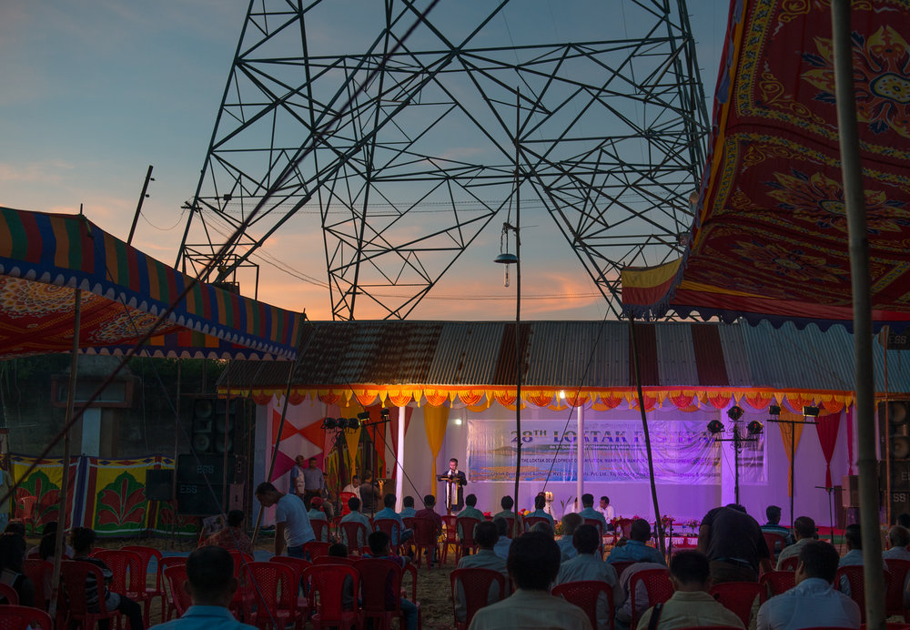A government official delivers a speech at the 2017 Loktak Day celebration, emphasizing the conservation of the Loktak Lake. The 105 MW, Loktak Hydro Power Project, commissioned by the government in 1983 for power generation and irrigation has not only been underperforming but has also resulted in an ecological disaster in the Loktak Lake and impacted the livelihoods of over 30,000 fisherfolks.  \