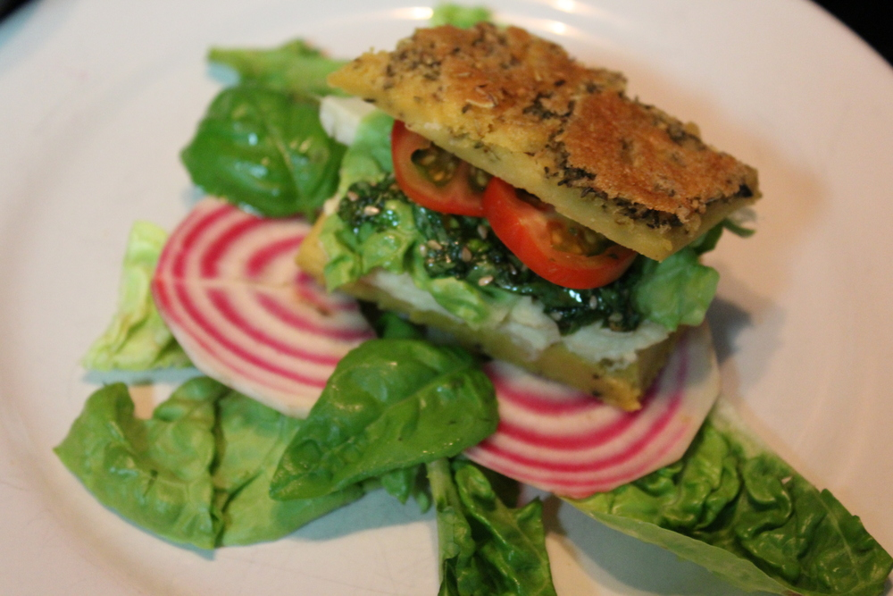 Chickpea bread Sandwich with Cashew cheese and pesto