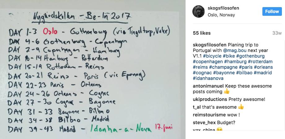 Screenshot from Asbjørn's Instagram account.