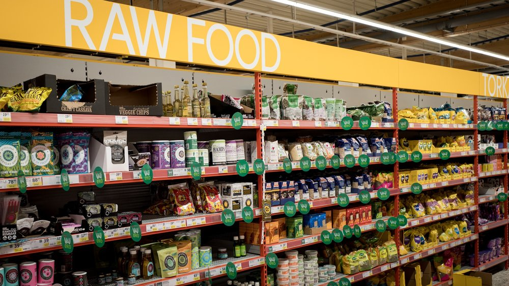 Huge Raw Food section at ICA MAXI store, in small town Kungälv.