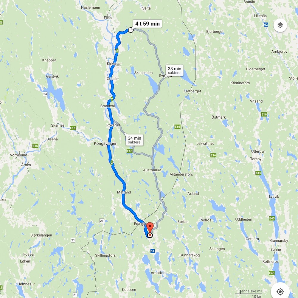 Map of our first bicycle route - from around Flisa in Norway to Charlottenberg in Sweden.