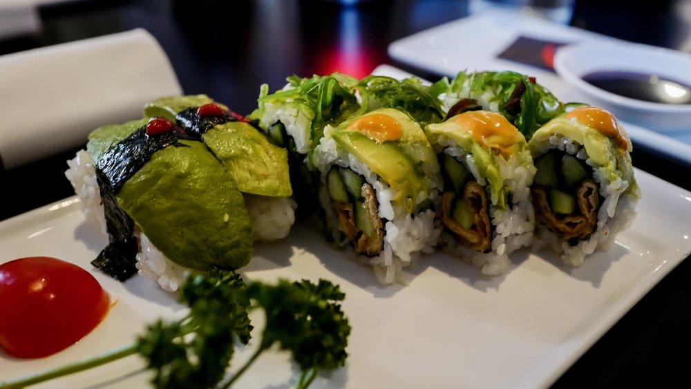 Vegan sushi plate at Azuma, a Japanese restaurant in køge, Denmark.