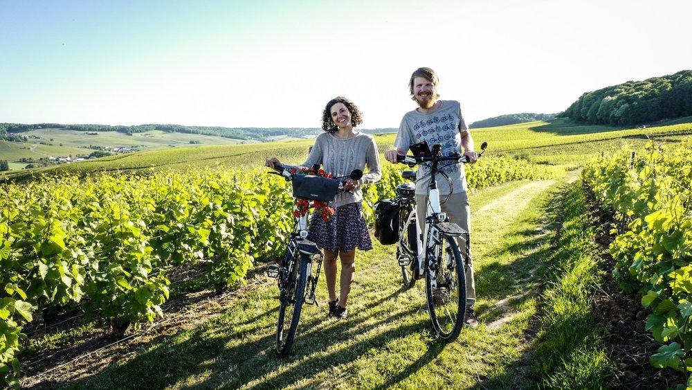 No luggage day; happy day! Cruising around the champagne vineyards.