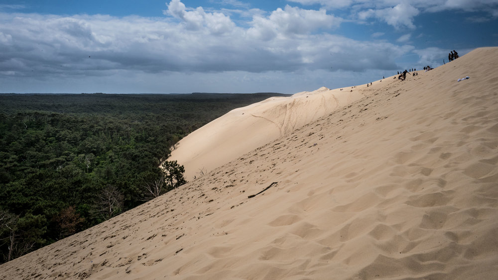 The dunes of Pilat, also called The Grand Dune, the tallest sand dune in Europe! 110 m above sea level. Yes, you gotta walk the sand mountain! (there are stairs too, but walking on sand is so much better!)