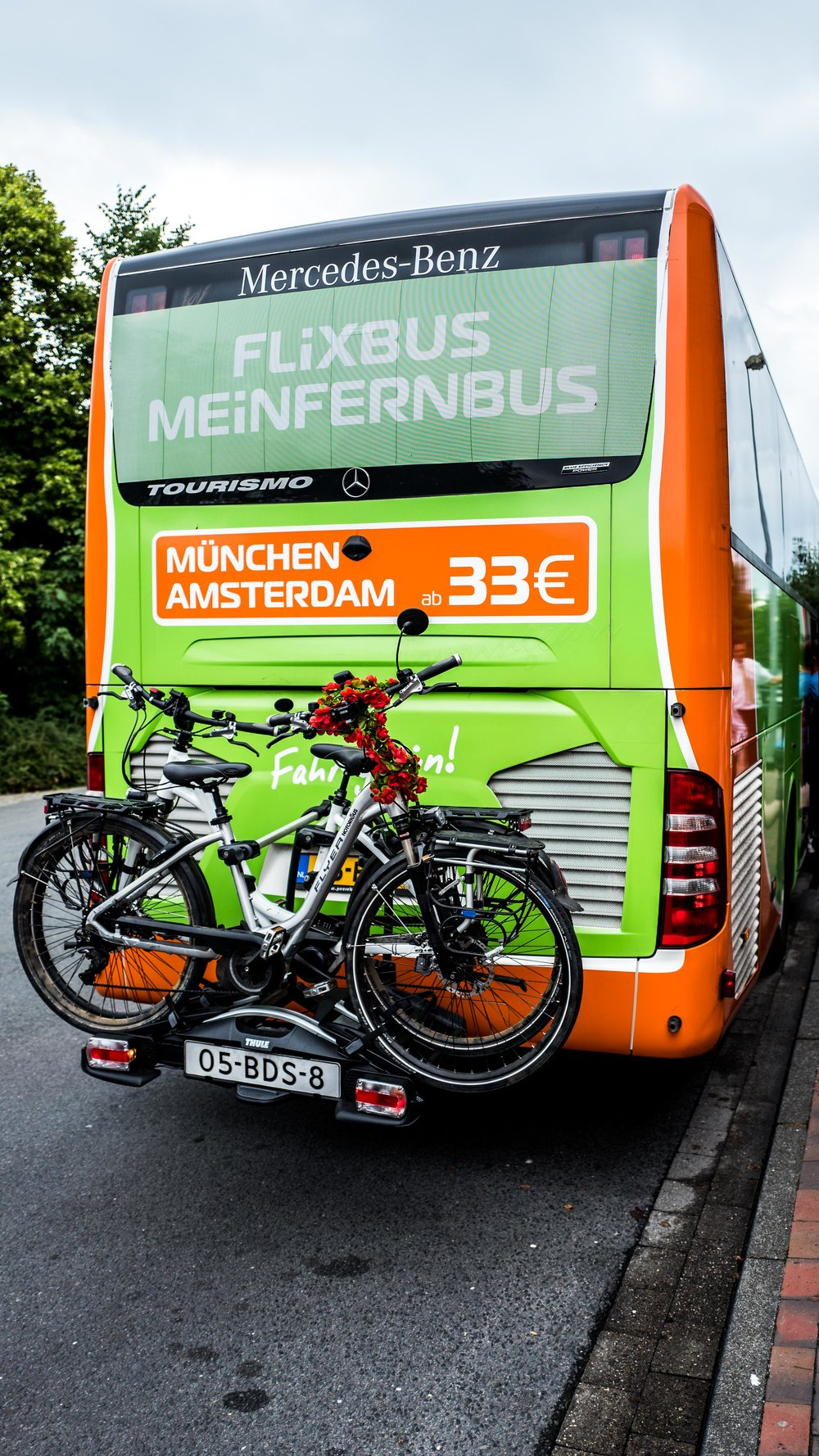 From the Netherlands to Germany, our bikes survived pretty well behind this bus for like 20 hours.