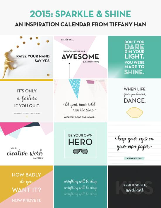 2015 Sparkle & Shine Wall Calendar from Tiffany Han