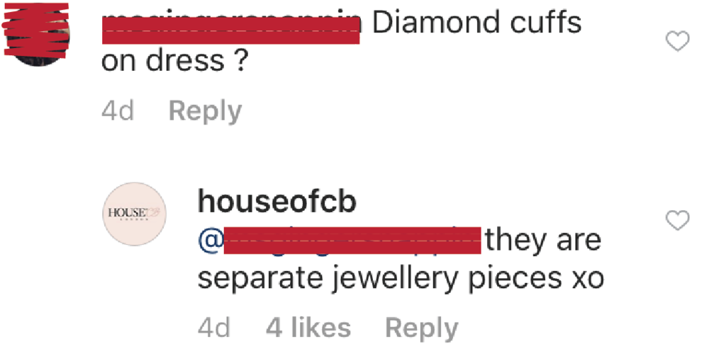 - Well, per House of CB the diamond cuffs are jewelry that were added by the stylist. They ARE NOT constructed into the dress.
