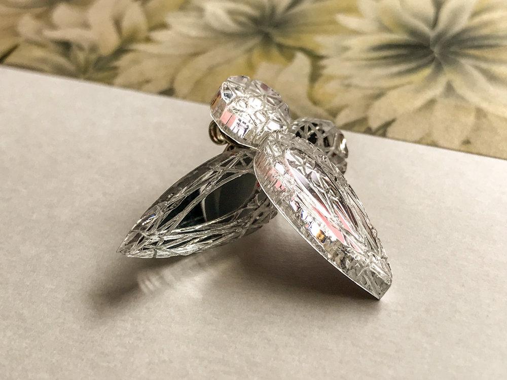 Silver acrylic jewel studs
