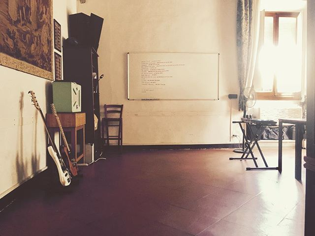 Looks like we have all the new songs written on a whiteboard. Looks like they still have a lot of review notes. But it also looks like we have the best place to complete the next record. #music #florence #hills  #missingapool #doesntmatter #preproduction #sounds #nothingforbreakfastclub