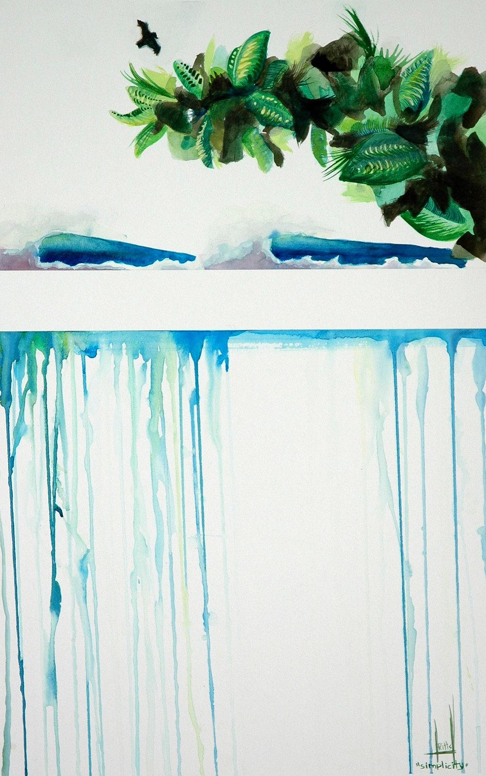 """Simplicity"" Watercolor on Illustration Board"