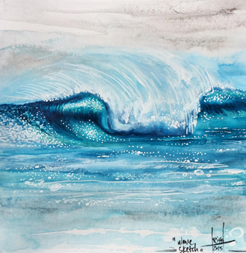"""""""Wave Sketch"""" Watercolor on Paper"""
