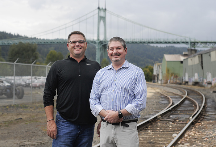 Ben Wood, left, and Brian Wilson of The Mainland Companies are developing a series of projects near the Willamette River in the Cathedral Park neighborhood. (Sam Tenney/DJC)