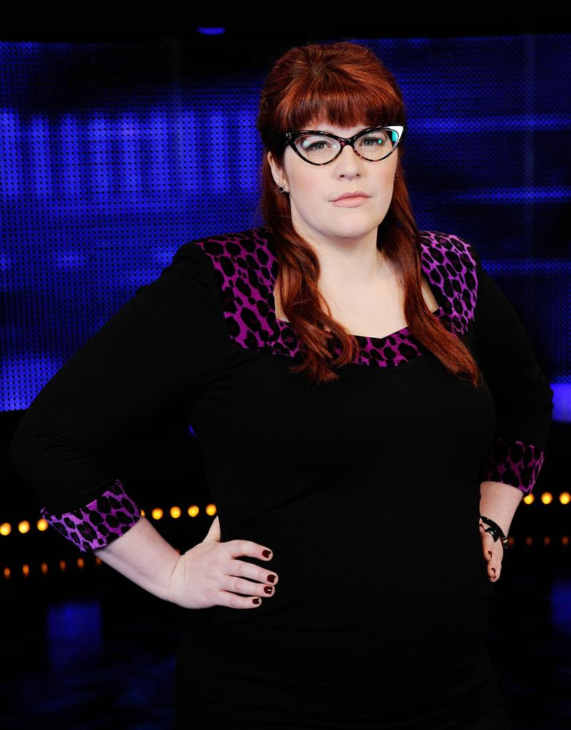 Jenny Ryan as The Vixen in full regalia on The Chase