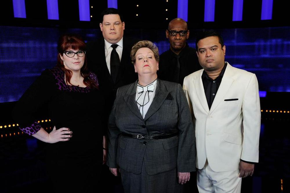 The Chasers all together! L-R Jenny Ryan aka The Vixen, Mark Labbett aka The Beast, Anne Hegerty aka The Governess, Shaun Wallace aka The Dark Destroyer, Paul Sinha aka The Sinnerman