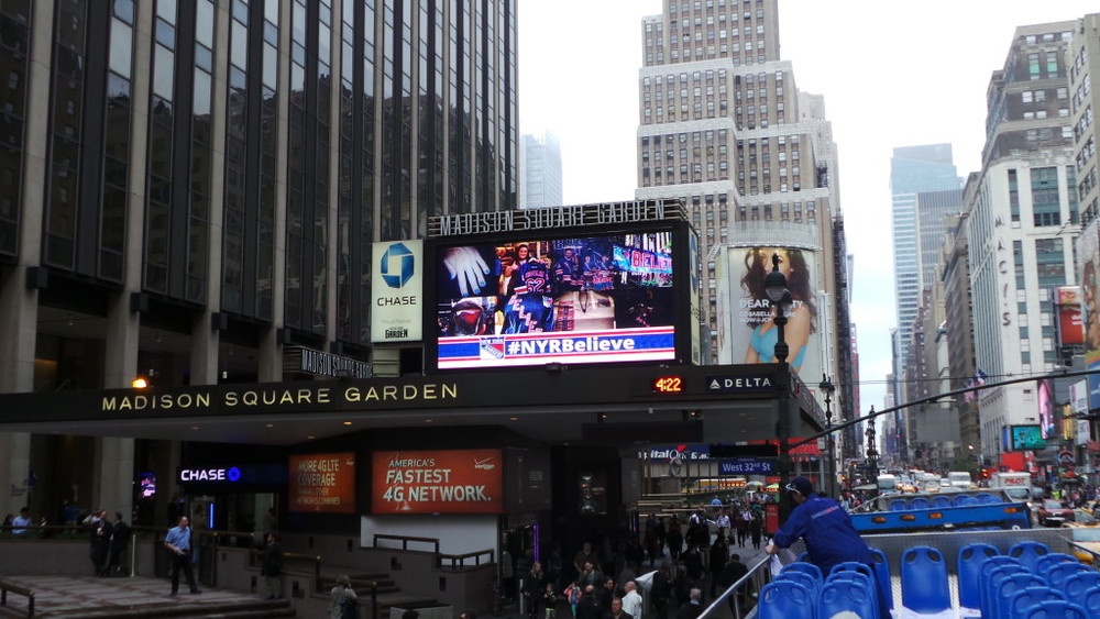 Madison Square Garden Marquee - Instagram: #NYRbelieve
