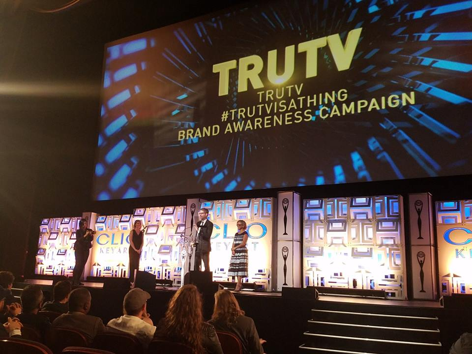 truTV's president Chris Linn accepts the Grand Clio for #truTVisAThing.