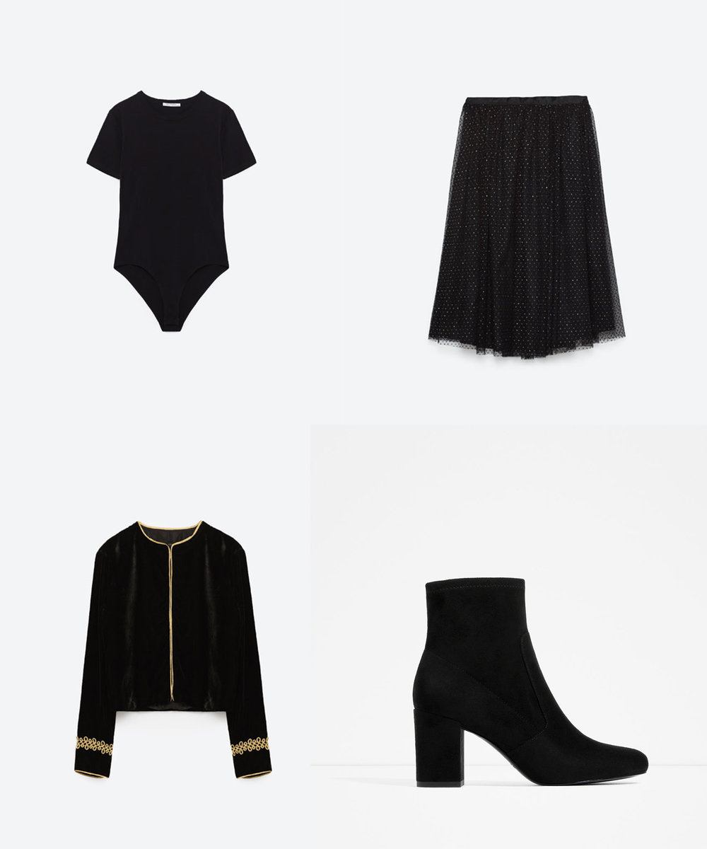 Short Sleeve Bodysuit   ($13) //   Tulle Skirt   ($50) //   Velvet Blazer + Gold Applique   ($70) //   Elastic High Heel Ankle Boots   ($60)