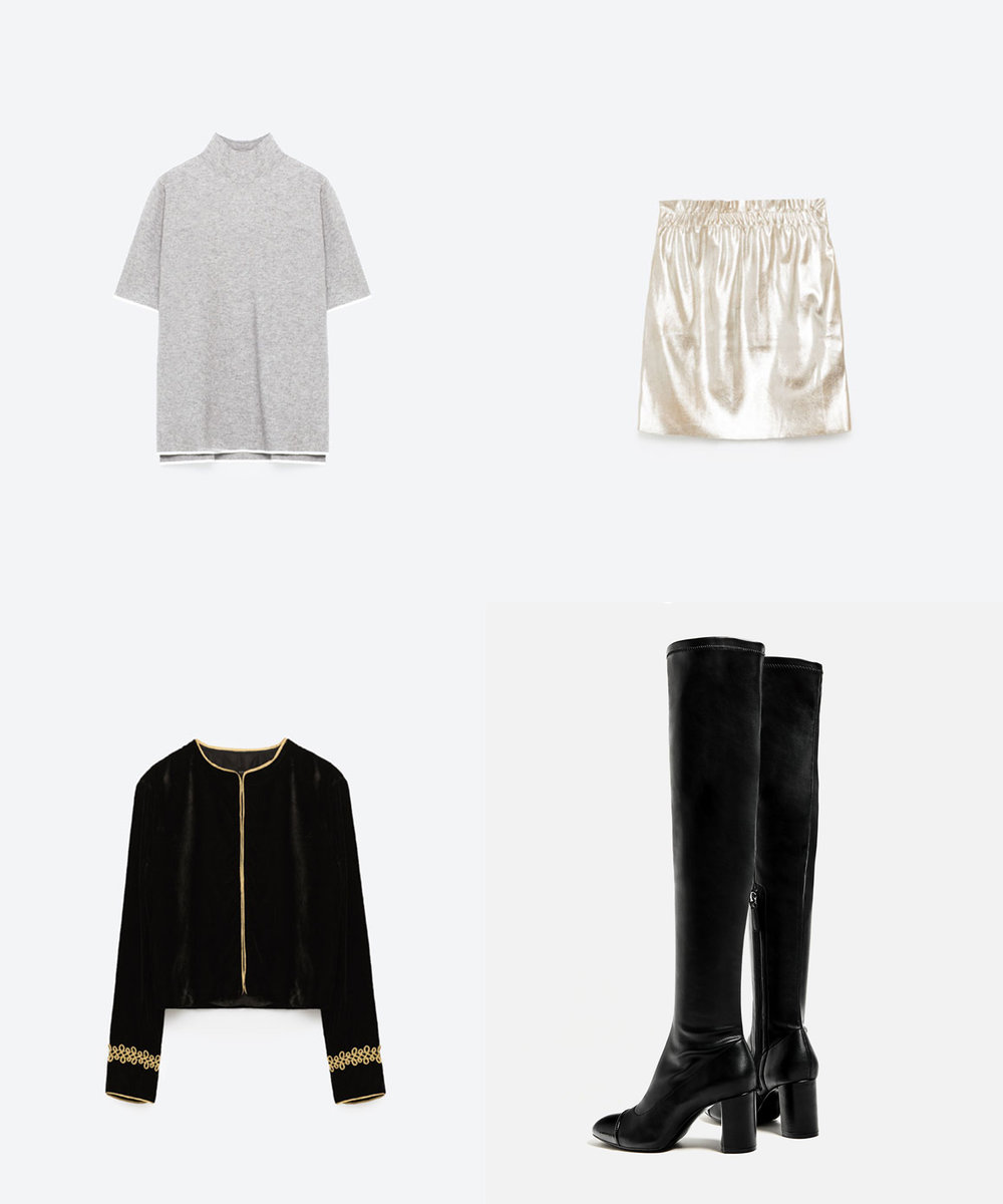 Turtleneck Sweater   ($40) //   Faux Leather Mini Skirt in Silver   ($30) //   Velvet Blazer + Gold Applique   ($70) //   OTK High Heel Cap Toe Boots    ($90)