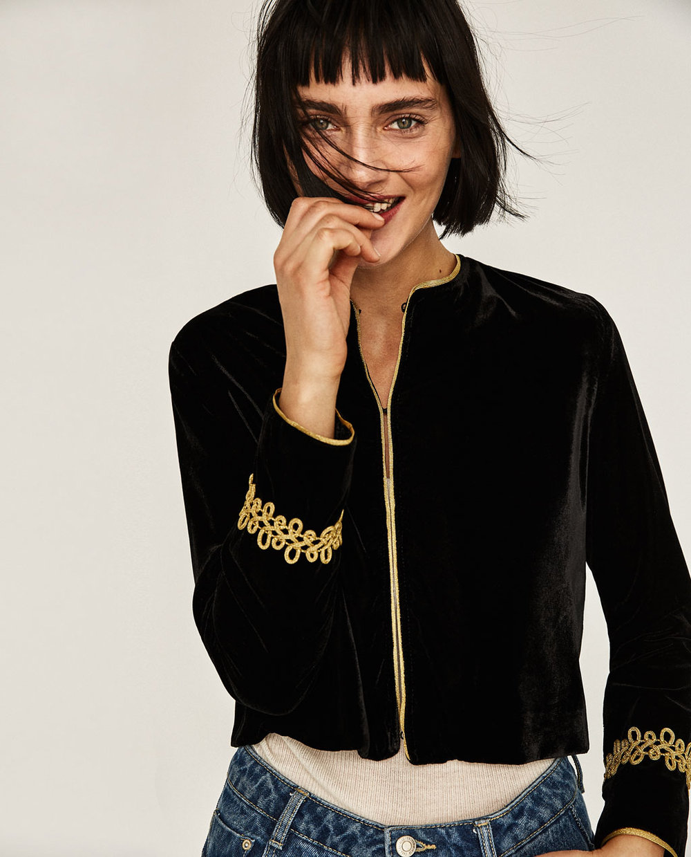Velvet Blazer + Gold Applique