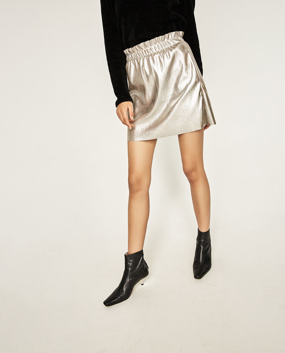 Faux Leather Mini Skirt in Silver