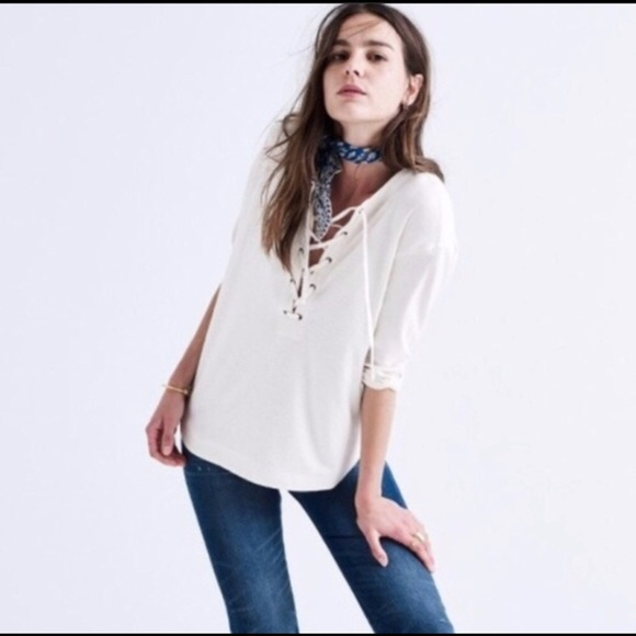 Madewell Lace-Up Top, Cream, XS