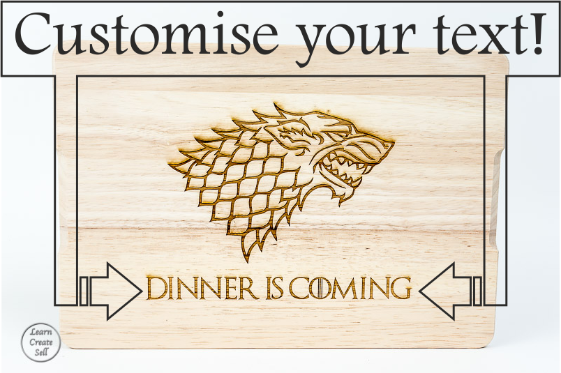 Chop your Grub like a Stark!  - Click here.. for more great personalised gift ideas!