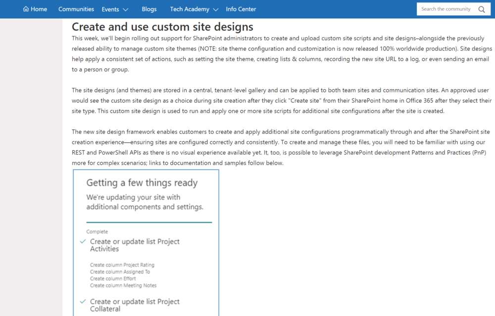 Introducing Custom Site Designs for SharePoint - Now you can create lists, call MS Flow, set a theme and other cool stuff when a SharePoint site is provisioned.